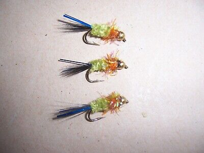 Goldhead Red Fritz Montana  size 14 blue attractor by Salmoflies Fishing Flies