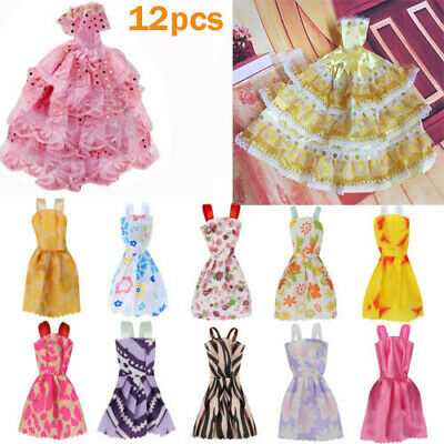 12 Pcs Party Wedding Gown Dresses Clothes For Barbie Doll Random color Girl toy