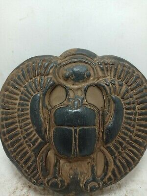 RARE ANTIQUE ANCIENT EGYPTIAN Statue Big Scarab Beetle God Falcon Horus 1680 Bc