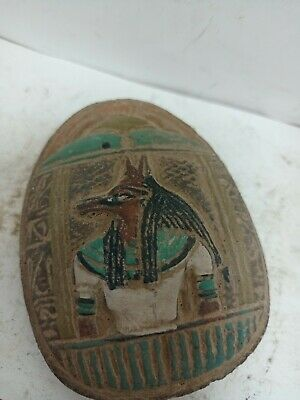 RARE ANTIQUE ANCIENT EGYPTIAN Statue God Anubis Protection Scarab 1750-1710 Bc