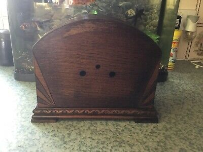 Vintage Mantle Clock Empty Wooden Case Spares Or Repair Project