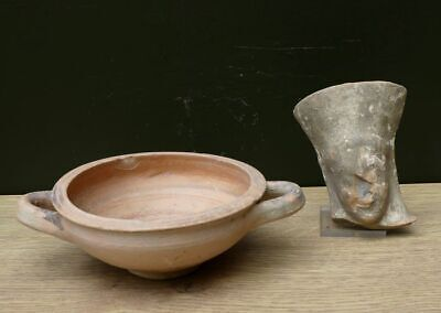 2 Interesting Archaic Greek objects 1 bowl and a head of a Goddess, 600 BC