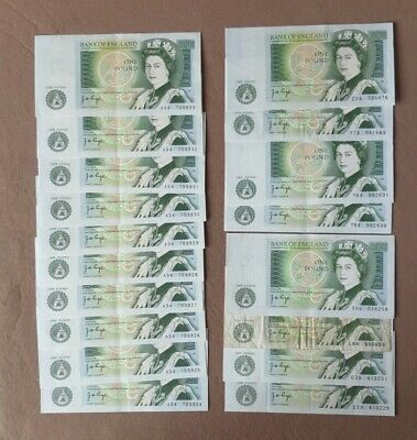 18 x Bank of England £1 Pound Banknotes Page Vf to Aunc & Consecutives