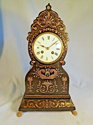 """19c French Inlaid Clock C1890 """"Vincenti"""" Working Order."""