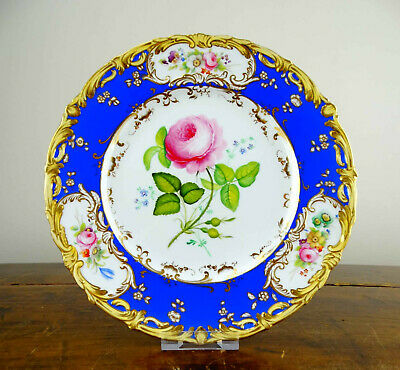 Antique Victorian Coalport Porcelain Plate Hand Painted Flowers Rococo Louis XV