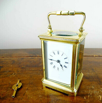 Antique French Travel Brass Striking Carriage Clock with Jeweled 8 Day Movement