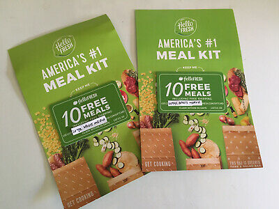 2 Hello Fresh - 10 Free Meals Promo $180 Value Promotion Cards Includes 2 Codes