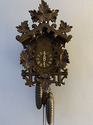 8 Day Black Forest Cuckoo Clock With Beautiful Carvings