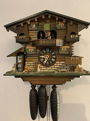 Black Forest 1 Day Chalet Cuckoo Clock With Music & Dancers.