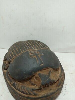 RARE ANTIQUE ANCIENT EGYPTIAN Statue Scarab Key of Life Happy Extra Life 2610 Bc