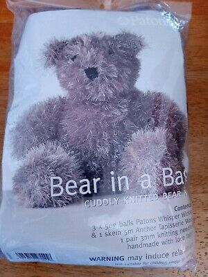 Patons Bear in a bag, Brown Teddy knitting kit, Whisper wool, needles inc.
