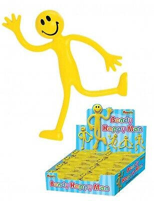 24 Bendy Smiling Happy Yellow Men Adhd Stress Toy Bendable Party Fidget Fiddle