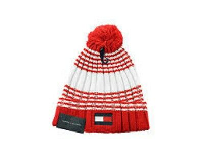 Tommy Hilfiger  mens hat beanie red navy spell out one size   pl1