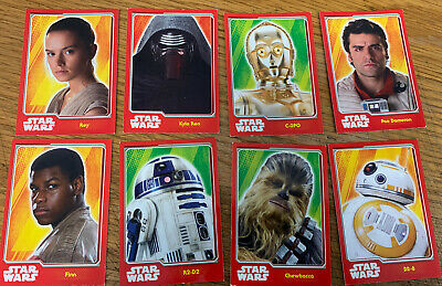 Star Wars Topps Cards X8 Force Awakens Rey Finn Poe R2D2 Bb8 Kylo Chewbacca