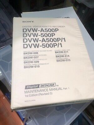 Sony DVW-A500P Maintenance Manual (Includes Operation Manual)