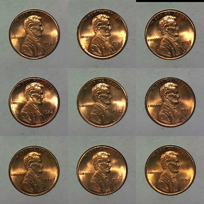 1984 P Mint Lincoln Memorial Small Cent Penny Uncirculated BU Roll 9 coins