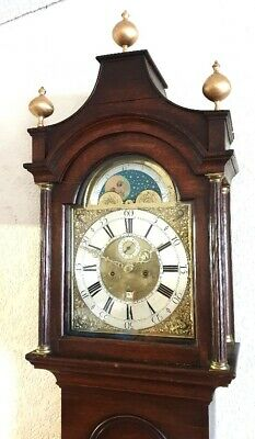 A Fine Georgian Oak Moonroller Longcase Grandfather Clock Brass Moon dial C1780