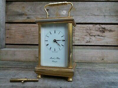 Brass Morrell & Hilton 11 Jewel Carriage Clock with Key Made In England