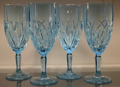 Set Of 4 Marquis by Waterford Brookside Aqua Crystal Iced Beverage Tea Glasses