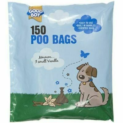 150 Pack Poo Bags Vanilla Scented - Easy To Use - Built In Handles - Fast & Free