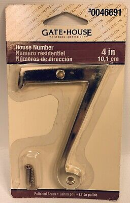 Gatehouse Polished Brass 4 Inch House Numbers choose numbers Lot of 3 or 4
