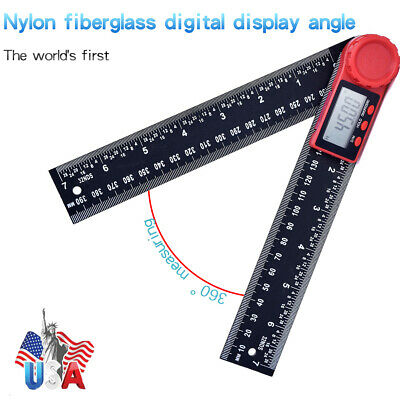 """2 In 1 Electronic LCD Digital Angle Finder 8"""" Measure Protractor Gauge Ruler US"""