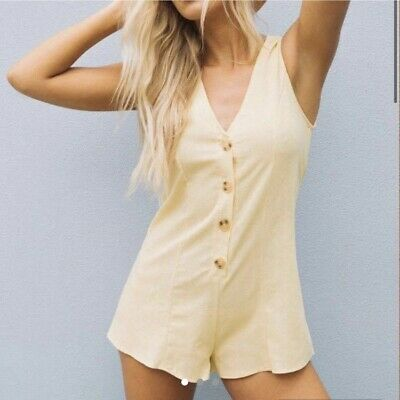 Princess Polly yellow romper playsuit linen