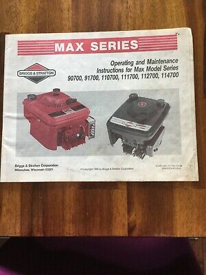 Briggs & Stratton Max Series 1988 Operating and Maintenance Manual