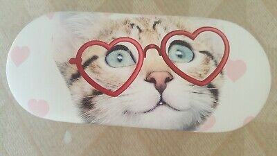 Ladies Sunglasses Case, Cat With Pink Hearts Design, Brand New without Tag
