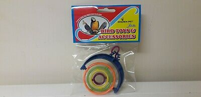 New In Packet...bird Toy...budgie..parrot...spinning Rings..lovely Colours..toy.