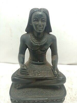 RARE ANTIQUE ANCIENT EGYPTIAN Scribe Sitting Open Papyrus Hiroglyphic 1710 Bc