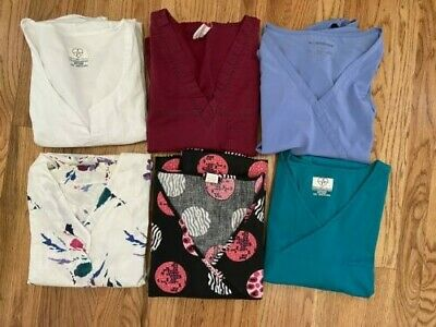 Lot of 10 piece Scrub Tops & Misc Pants Women Used 2X & others