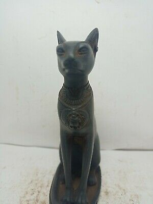RARE ANTIQUE ANCIENT EGYPTIAN Statue Goddess Bastet Cat Scarab Protection 952 Bc