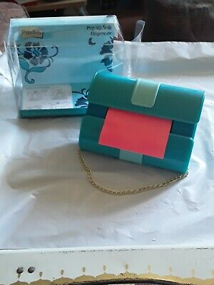 POST IT NOTES FASHION COLLECTION TURQUOISE /& GREEN HANDBAG POP UP NOTE DISPENSER