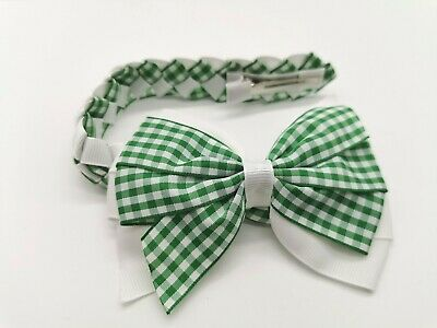 """Pair Gingham Ribbon School Hair Bow Green//White Double Layered Hair Bow 4""""approx"""