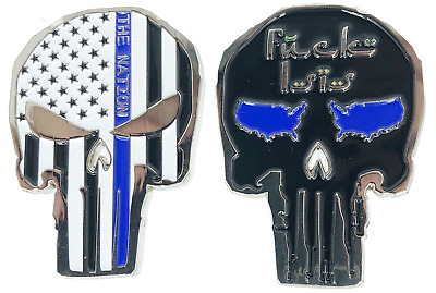 SK-024 Thin blue Line Police Skull Challenge Coin