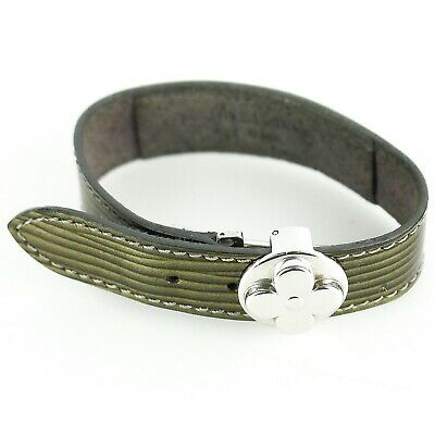 Auth LOUIS VUITTON GOOD LUCK Bracelet Bangle Cyber Epi Leather M99083 Anthracite
