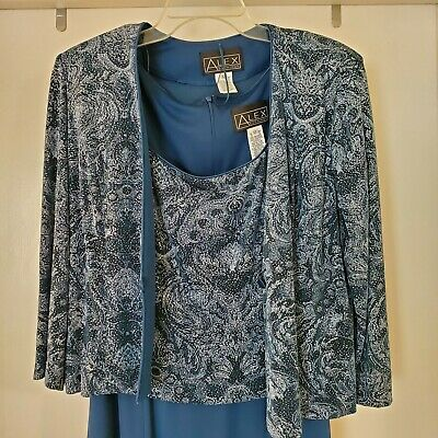 Alex Evenings Outfit For Mother Of Bride Blue Dress & Jacket Size 12