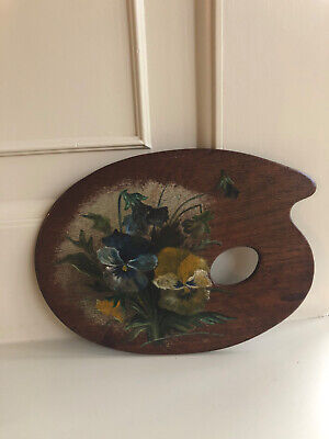 Gorgeous Used Vintage Painters / Artists Palette, Fabulous Hand Painted Pansies