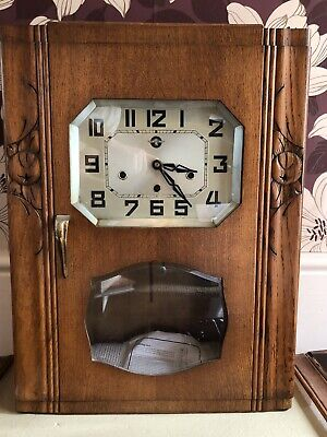 Art Deco Antique French Westminster Chime Wall Clock By Carrez