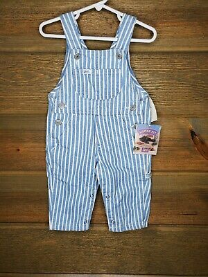 Vintage Lee DEADSTOCK Made in USA Coveralls Blue White Striped Bibs 12 Months