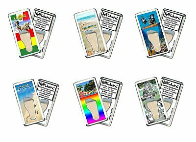 Cozumel FootWhere® Souvenir Fridge Magnets. 6 Piece Set. Made in USA