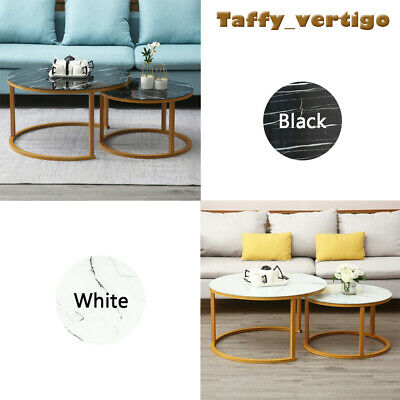 Round Coffee Table Gold With Smoked Glass Centre Table Living Room Furniture Uk 60 95 Picclick Uk