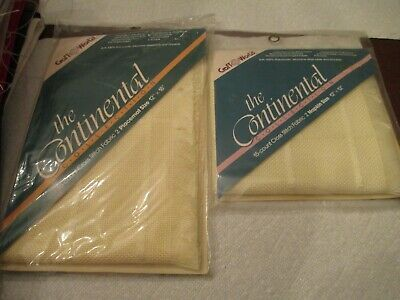 """CROSS STITCH CRAFT WORLD CONTINENTAL COLLECTION 2 PLACEMATS 15ct 12/"""" x 18/"""" TAN"""