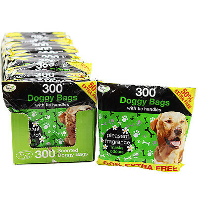 300 Disposable Doggy Bags Scented Dog Poo Waste Tie Handles Dog Cat Poo Waste