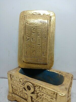 RARE ANTIQUE ANCIENT EGYPTIAN Jewelry Box Scarab Luck Gold Key of Life 1575 Bc