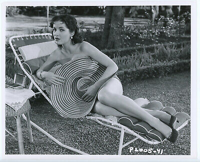 Alluring French Pin-Up Yvonne Furneaux Original 1956 Bathing Beauty Photograph