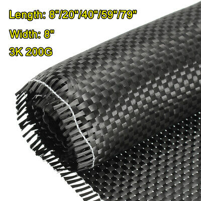 "Carbon Fiber Fabric/Cloth: Plain Weave - 3K,79"" x 8'' For Bumper,Car Engines"