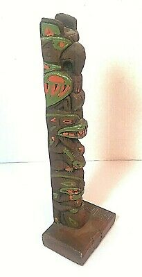 Vintage Small Carved and Painted Kiana Alaska Souvenir Totem