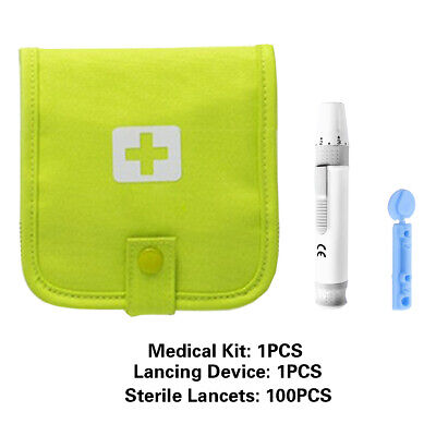 1/2/3set Lancing Device + 28g Sterile Lancets + Storge Bag For Blood Tester UKZ